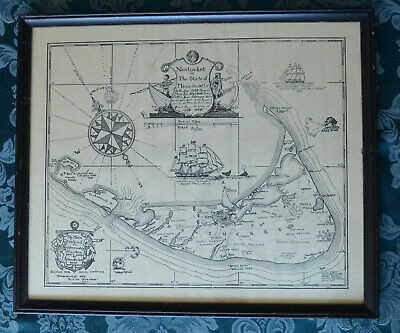 Antique Framed Map Nantucket in State of Massachusetts Austin Strong 1921 17x20