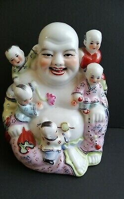 """Antique Chinese Buddha Porcelain Laughing Famille Rose Children 6"""""""