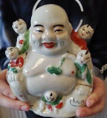Antique Chinese Buddha Porcelain Laughing Famille Rose Children