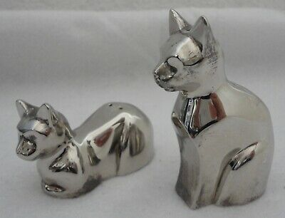 Modern Silver Plated Cat Salt & Pepper Shakers