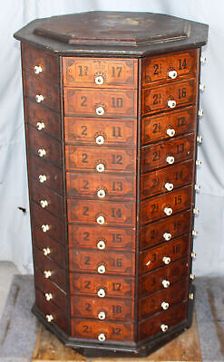 Antique Country Store Screw or Bolt Cabinet – White Porcelian Knobs