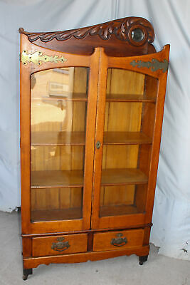 Antique Victorian Oak Bookcase – double door - Small Beveled Mirror - Unique