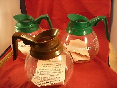 3 Commercial Coffee Pots REPLACEMENTS CARAFE FOR BUNN GERMANY BROWN/GREEN HANDLE