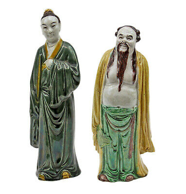 """2 - Antique 7"""" Chinese Mudmen Asian Oriental Figurines Marked China 21"""