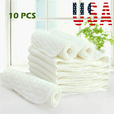 US Water Absorption 10 Pcs Reusable Pure Cotton Baby Cloth Diaper Nappy Liners