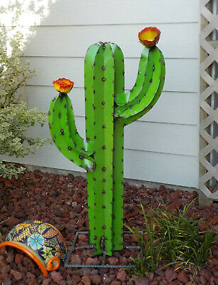 "METAL YARD ART SAGUARO CACTUS SCULPTURE 25/"" TALL GREEN"
