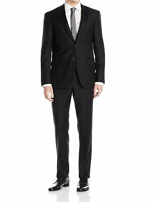DKNY Mens Suit Black Size 38 Short Slim Two Button Unfinished-Hem $650 086