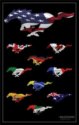 """""""Mustang Unites"""" Running Horse Flags Sign 14"""" x 22"""" Rare Collectible Item!"""