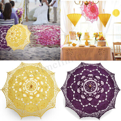 26'' Victorian Lace Sun Embroidery Parasol Umbrella Bride Wedding Party Decor UK
