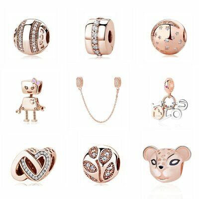 2020 NEW 925 Sterling Silver Family Love Rose Gold Charm Fiit Pandora Bracelets