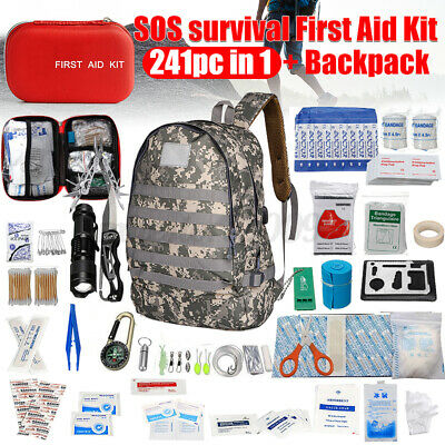 241Pcs Upgraded First Aid Emergency Survival Tool Kit Medical Set + Backpack