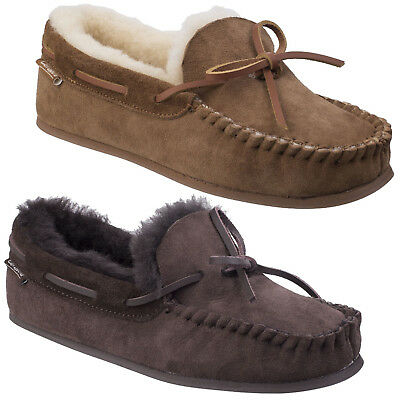 Cotswold Stanway Sheepskin Moccasin Ladies Classic Leather Comfort Slippers