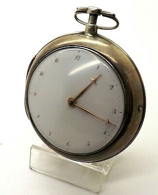 Large Early 18Th Century 62Mm Antique Verge Fusee Silver Pair Case Pocket Watch