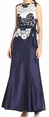 Tahari by ASL Womens Dress Blue White Size 6 Lace Self Tie Sash Gown $239- 535