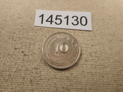 1969 Singapore 10 Cents - Very Nice Collector Grade Album Coin - # 145130 Raw