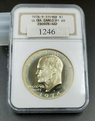 1974 S $1 Eisenhower Dollar Silver Coin NGC PF69 UCAM Brown Label PQ * Toning