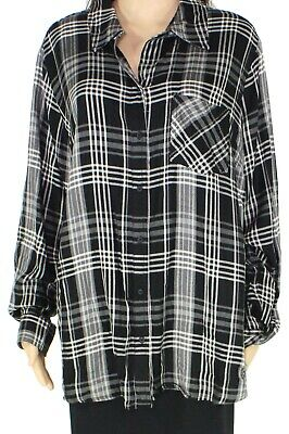 Style & Co. Womens Top Black Size 3X Plus Plaid Button Down Flannel $56 116