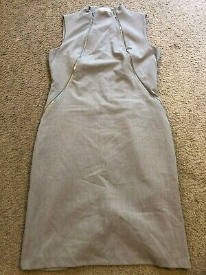 CALVIN KLEIN Gray Rayon Stretch Sleeveless Knee Length Casual Dress womens 6