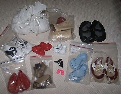 12 Pairs Of Doll Shoes - Mostly New