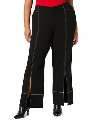 INC Womens Pants Black White Size 20W Plus Seamed Wide Leg Stretch $89 305