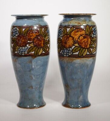 Pair of Artist Signed Royal Doulton Vases , From The Harriman Judd Collection