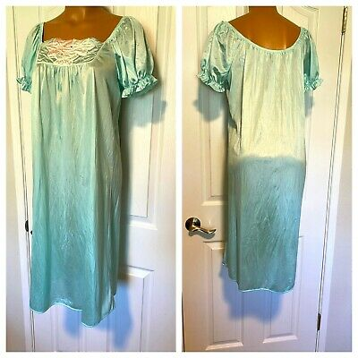 Vtg 90'S Val Mode Satiny Aqua Blue Tricot Nylon Nightgown Made In Usa Sz M