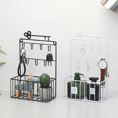 New Wall Shelf Key Shelves Basket Metal Key Hook Iron Wall Hanging Home Decor UK