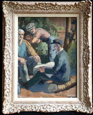 1930's FRENCH POST IMPRESSIONIST OIL PANEL - WORKERS RESTING TAKING LUNCH