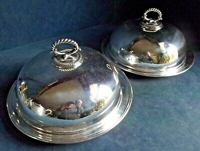 """SUPERB Large PAIR 10"""" ~  SILVER Plated ~ Dinner PLATTERS & COVERS ~ c1900"""