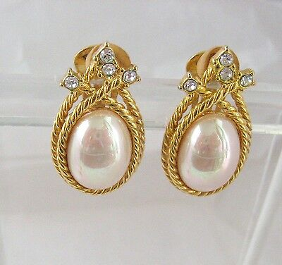 Nolan Miller Gold Tone Faux Pearl Rhinestone Earrings Clip Ons