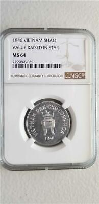 Vietnam 5 Hao 1946 Value in Raised Star NGC MS 64