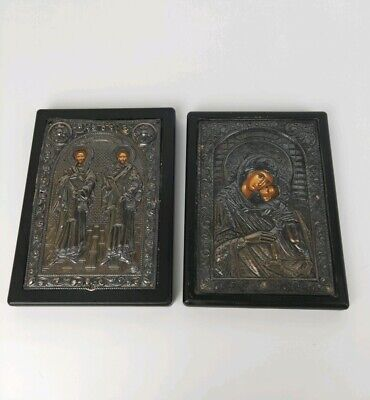 Greek Icon Hand Painted Silver Plaques By Byzantine Art