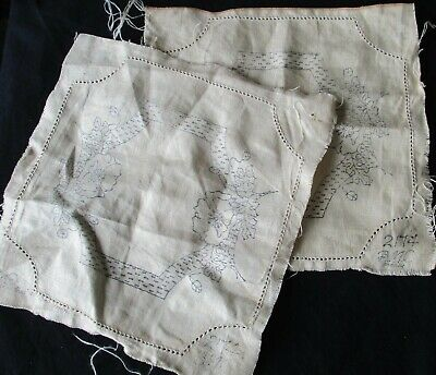 Two (2) Vintage Bmc #2174 Linen D'oileys With Poppies To Embroider