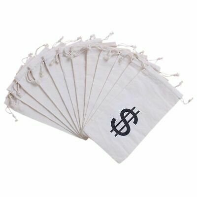 """12-Pack Money Bag Pouch with Drawstring Closure and Dollar Sign Symbol, 4.7""""x9"""""""