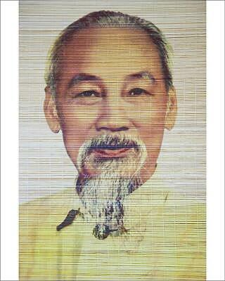 "10""x8"" (25x20cm) Print Ho Chi Minh portrait on bamboo scroll, Han..."