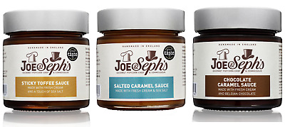 Joe & Seph's Popcorn Caramel Sauce / Spread Selection Set, 3 x 230g Jars