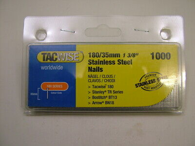 2nd fix Stainless Steel straight brad finish nails 18 gauge 35mm box of 1000