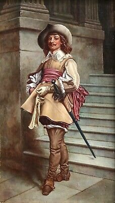 19th CENTURY OIL ON PANEL - PORTRAIT OF CAVALIER - INDISTINCTLY SIGNED & DATED