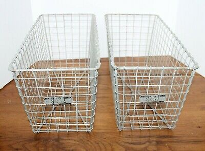 "Vintage Lyon Locker Room Storage Basket Large 18"" Wire Basket 3251 3252"