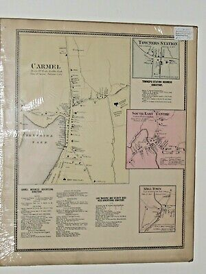 Vintage Carmel Towners Station New York Antique Map from Beers Atlas of 1867