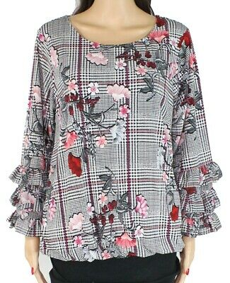 Alfani Womens Blouse Black Size 3X Plus Tiered Floral Print Houndstooth $75 124