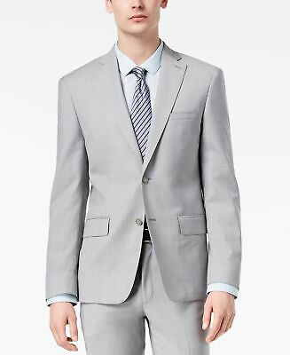 DKNY Mens Blazer Gray Size 40 Short Modern Fit Stretch Two Button Wool $525 #213