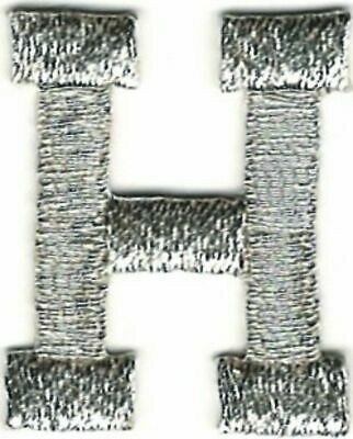 "1/"" Tall Bright Metallic Silver Monogram Block letter B Embroidery Patch"
