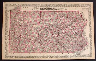 """J.H. Colton Antique Map Of Pennsylvania  Engraved & Hand Colored 17.25"""" X 27.75"""""""