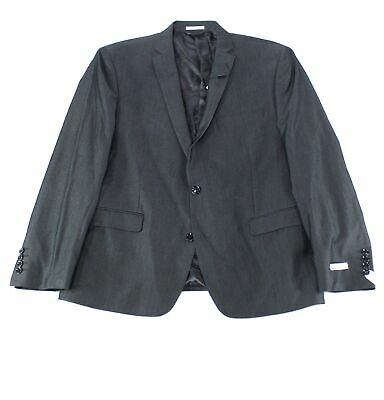 Bar III Mens Blazer Charcoal Gray Size 42 Notch-Collar Slim Fit Jacket $275 108