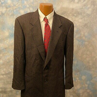 Mani Sz 41 R Brown Patterned Wool Two Button Men's Blazer Sports Coat ITALY