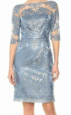 Tahari By ASL Womens Dress Light Blue Size 10 Sequin Sheath Sheer Lace $178 #341