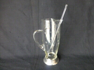 Vintage Sterling Silver and Etched Glass Cocktail Pitcher with Glass Stir Stick