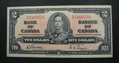 Bank of Canada King George VI Two Dollars banknote 1937 Gordon Towers NICE