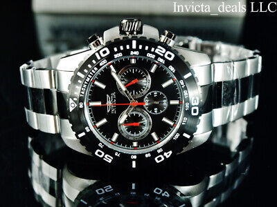 Invicta Mens 47mm Pro Diver PILOT Chrono Black & Red 2Tone Stainless Steel Watch